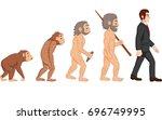cartoon human evolution   Shutterstock . vector #696749995