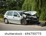 front of silver car get damaged ... | Shutterstock . vector #696750775