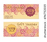vector gift voucher  card... | Shutterstock .eps vector #696752035