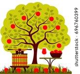 vector apple tree  fruit press...   Shutterstock .eps vector #696760399