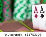 casino texas hold'em poker game....   Shutterstock . vector #696763309