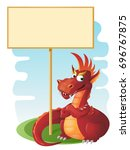 red dragon guards blank banner. ...   Shutterstock .eps vector #696767875