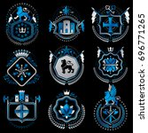 set of old style heraldry... | Shutterstock . vector #696771265