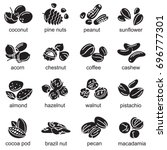 collection of monochrome nuts... | Shutterstock .eps vector #696777301