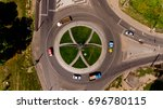 top view of the road with a... | Shutterstock . vector #696780115
