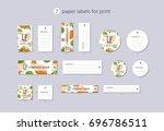 vector paper clothing labels... | Shutterstock .eps vector #696786511