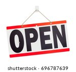 red hanging open sign isolated... | Shutterstock . vector #696787639