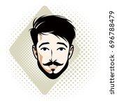 illustration of handsome brunet ... | Shutterstock . vector #696788479
