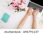 flat lay home office desk.... | Shutterstock . vector #696791137