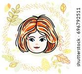 girls face  human head.... | Shutterstock . vector #696792511
