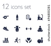 set of 12 fitness icons set... | Shutterstock .eps vector #696800281