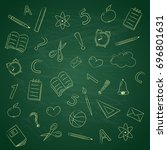 funny school doodles on... | Shutterstock .eps vector #696801631
