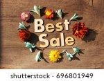best sale lettering.wood... | Shutterstock . vector #696801949