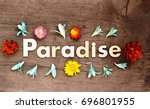 paradise lettering.wood letters ... | Shutterstock . vector #696801955