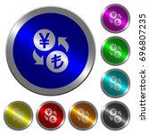 yen lira money exchange icons... | Shutterstock .eps vector #696807235