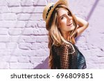 graceful young woman with long... | Shutterstock . vector #696809851