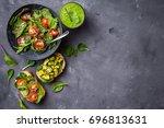 vegan vegetarian dinner... | Shutterstock . vector #696813631