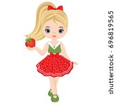 vector cute little girl with... | Shutterstock .eps vector #696819565