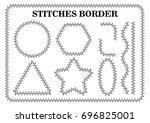 vector set of white seamless... | Shutterstock .eps vector #696825001