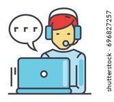 support customer service  man... | Shutterstock .eps vector #696827257