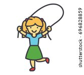 girl with jumping rope concept. ... | Shutterstock .eps vector #696828859