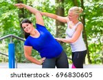 thin and overweight woman... | Shutterstock . vector #696830605