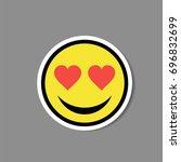 smiley love heart eyes sticker. ... | Shutterstock .eps vector #696832699