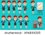 set of business woman character ... | Shutterstock . vector #696834205