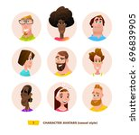 characters avatars in cartoon... | Shutterstock .eps vector #696839905