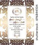 vintage baroque style wedding... | Shutterstock . vector #696844504