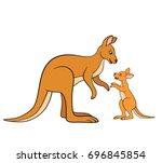 cartoon animals. mother... | Shutterstock .eps vector #696845854