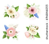 set of pink  white and blue... | Shutterstock .eps vector #696846055