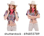 redhead cowgirl isolated on...   Shutterstock . vector #696853789