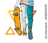 stylish skater in jeans and... | Shutterstock .eps vector #696854455
