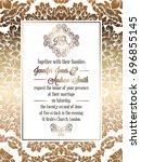 vintage baroque style wedding... | Shutterstock . vector #696855145