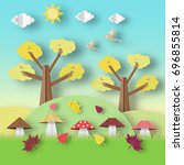 autumn origami landscape with... | Shutterstock .eps vector #696855814