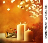 christmas candles and ornaments ... | Shutterstock . vector #696858481