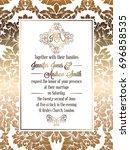 vintage baroque style wedding... | Shutterstock . vector #696858535