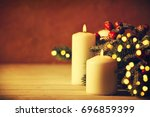 christmas candles and ornaments ... | Shutterstock . vector #696859399