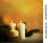christmas candles and ornaments ... | Shutterstock . vector #696859441