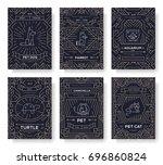 animal vector brochure cards... | Shutterstock .eps vector #696860824