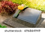 old blank cemetery stone or... | Shutterstock . vector #696864949