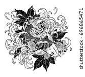 koi fish and chrysanthemum...   Shutterstock .eps vector #696865471
