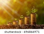 money growing in soil success... | Shutterstock . vector #696866971