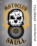 skull head wheel hand drawn   Shutterstock .eps vector #696867511