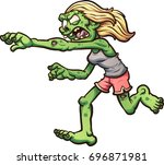 female cartoon running zombie.... | Shutterstock .eps vector #696871981