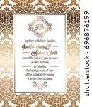 vintage baroque style wedding... | Shutterstock . vector #696876199