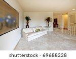 Almost empty living room of older home from sixties - stock photo