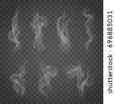 set of isolated smoke on a... | Shutterstock .eps vector #696885031