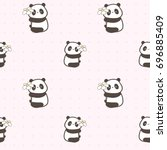 seamless pattern of cute panda... | Shutterstock .eps vector #696885409